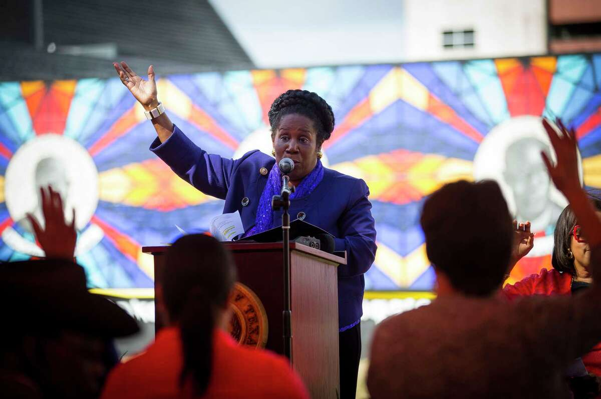 FILE - Congresswoman Sheila Jackson Lee speaks at the Pilgrim Congregational United Church of Christ on Nov. 5, 2018 in Houston, Texas. Jackson is reportedly stepping down from a Houston subcomittee after a lawsuit alleges she fired an aide for reporting a sexual assault.