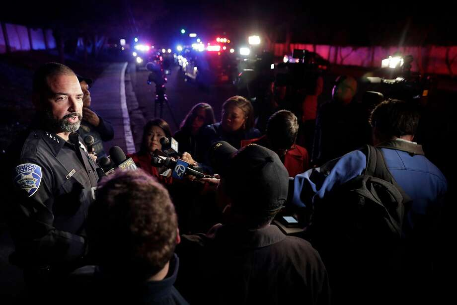 Antioch Chief of Police Tammany Brooks speaks to the media at the scene of a standoff after a police officer was injured during an altercation after responding to a conflict between two neighbors in Antioch, Calif., on Monday, November 5, 2018. Photo: Carlos Avila Gonzalez / The Chronicle