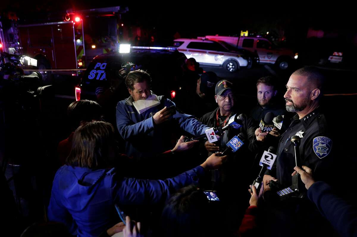 Antioch Chief of Police Tammany Brooks speaks to the media at the scene of a standoff after a police officer was injured during an altercation after responding to a conflict between two neighbors in Antioch, Calif., on Monday, November 5, 2018. The suspect was still holed up in his home, and police were trying to persuade him to turn himself in. The officer was treated at the hospital and released.