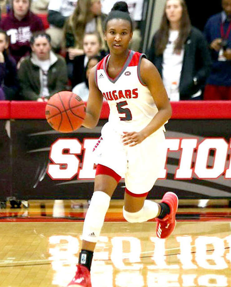 SIUE's Jay'nee Alston scored 26 points in the Cougars' win over Illinois Wesleyan in preseason action Monday night at the Vadalabene Center in Edwardsville. Photo: SIUE Athletics