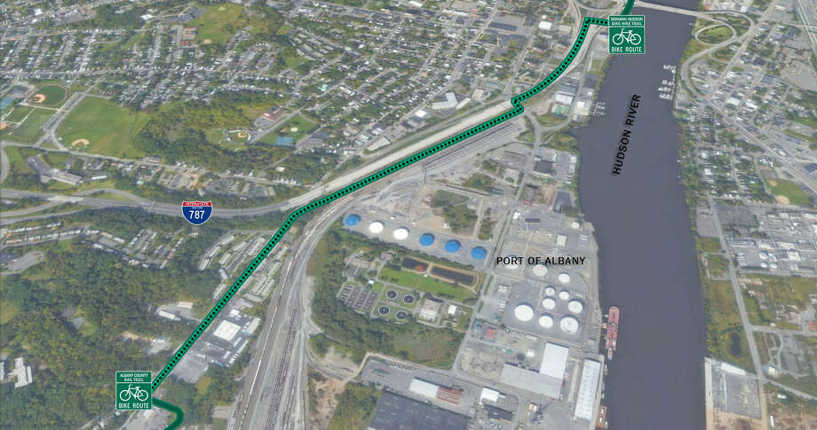 A draft plan of a pedestrian and bicycle path in the South End of Albany to connect the Albany County Rail Trail to the south and the Mohawk-Hudson Bike-Hike Trail to the north. Photo: Courtesy Photo
