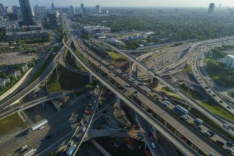 Traffic travels through the I-69 - Loop 610 interchange during the morning commute, Thursday, April 12, 2018, in Houston.