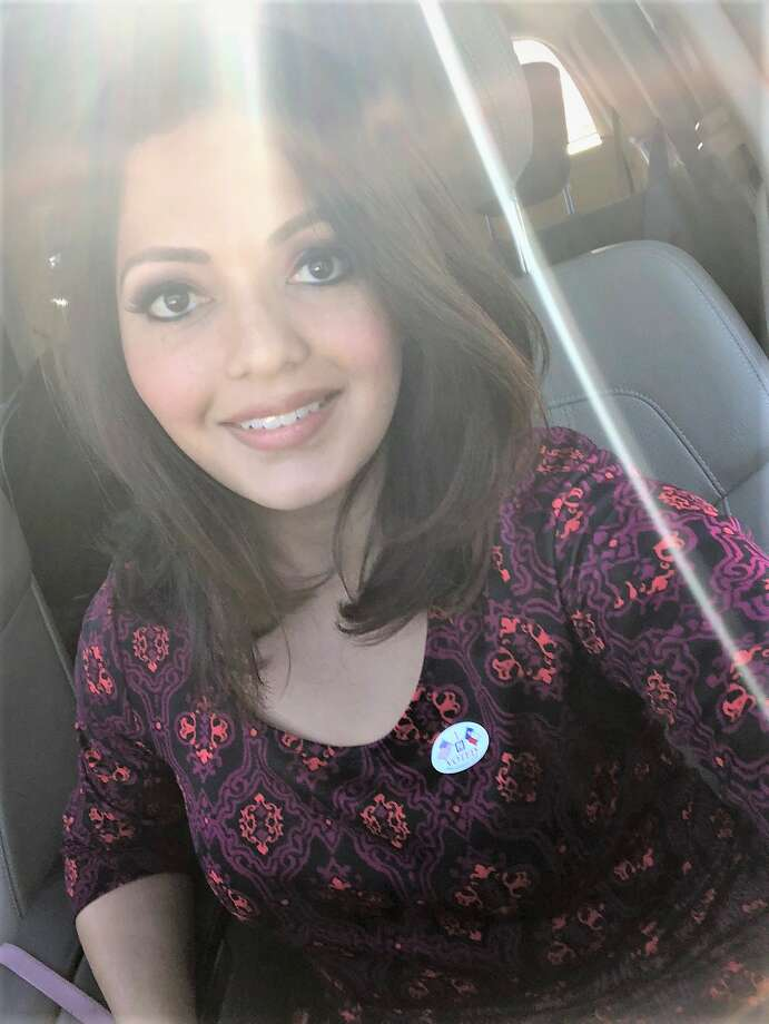 """Today is Election Day, which means it's time to get out and cast your ballot. KHOU anchor Rekha Muddaraj rocks her """"I Voted"""" sticker. >>> Scroll through to see more local TV personalities and Hollywood celebs rockin' the vote. Photo: Courtesy Photo"""