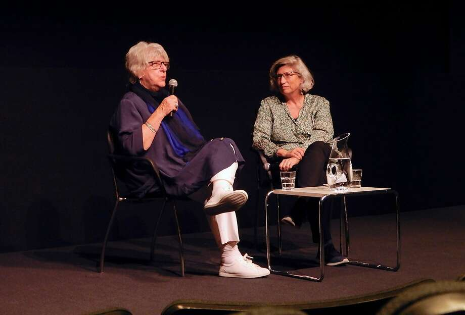 Katinka Faragó (left) is interviewed by UC Berkeley Professor Linda Rugg. Photo: BAMPFA