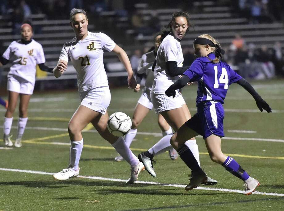 Milford, Connecticut-, November 5, 2018: Jonathan Law H.S. vs. Daniel Hand H.S. first half action during the first round of the Class M CIAC 2018 State Girls Soccer Tournament Monday night at Jonathan Law H.S. in Milford. Photo: Peter Hvizdak / Hearst Connecticut Media / New Haven Register