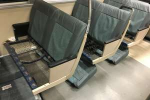 A BART rider recently found her train car to be littered with flipped seats.