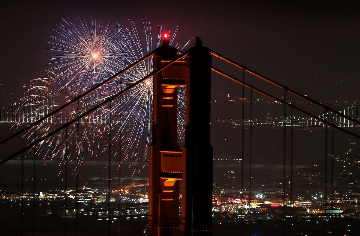 Fireworks are launched during a Fourth of July celebration in San Francisco, Calif., on Wednesday, July 4, 2018.