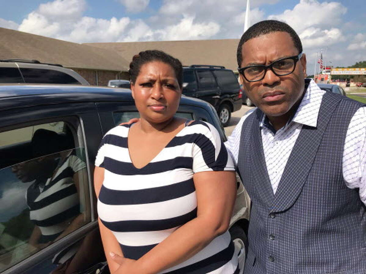 Rolanda Anthony, pictured with the Rev. E.A. Deckard, reported that an alternate election judge made racist remarks and assaulted her as she tried to vote Tuesday at Iglesia Bautista Libre in north Houston.
