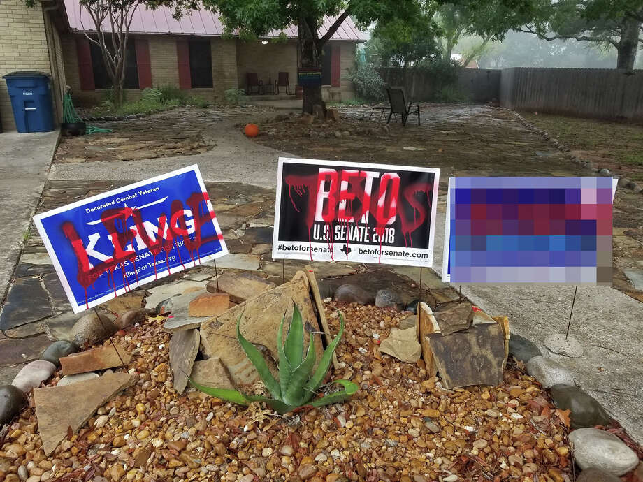 The political signs and car of New Braunfels resident Dede McConville were vandalized overnight on Election Day. Photo: Contributed Photos