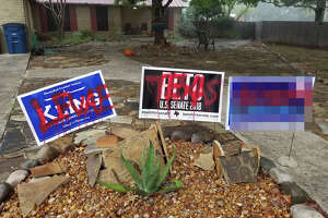 The political signs and car of New Braunfels resident Dede McConville were vandalized overnight on Election Day.