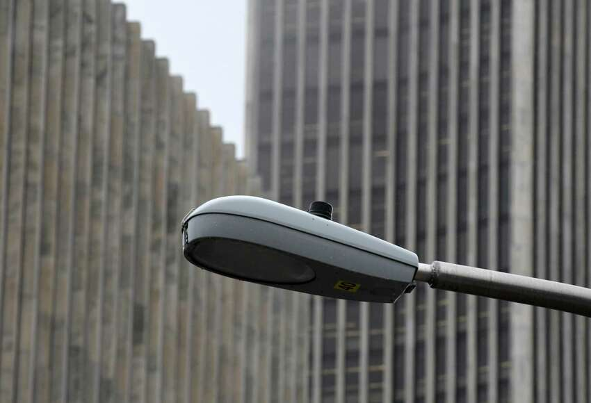 Streetlight along S. Swan St. near Empire State Plaza on Tuesday, Nov. 6, 2018, in Albany, N.Y. Albany is poised to borrow $29.3 million to purchase its streetlights from National Grid and upgrade them to LED lighting with the hope of saving money in the long run on usage. (Will Waldron/Times Union)
