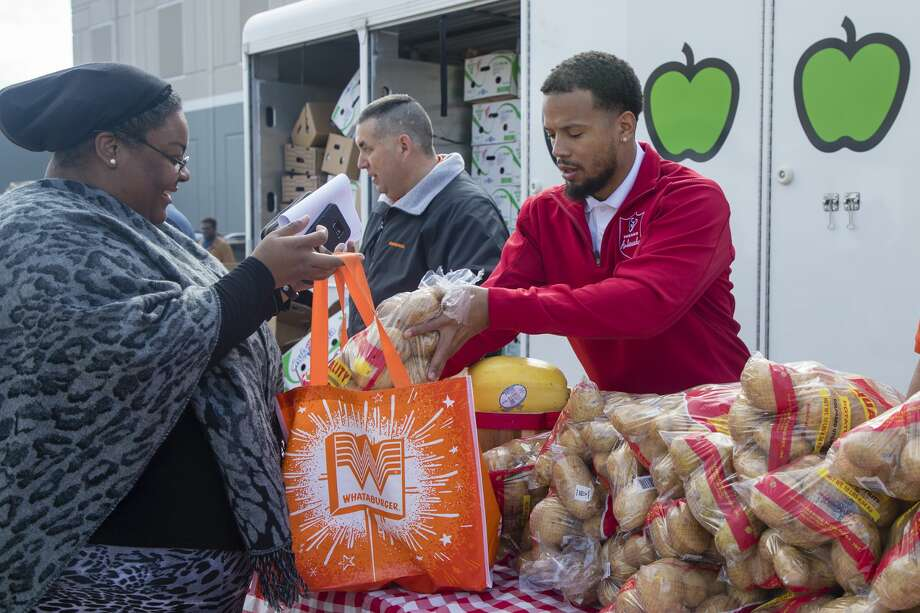 The Houston Texans and Whataburger teamed up to support the Houston Food Bank. 