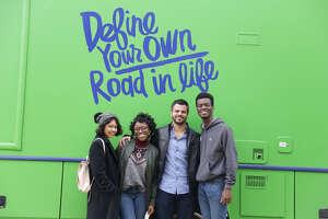 Student Fatima Huerta, student Korey Busby, Ben Taub Hospital nurse and mentor Moustafa al-Makdah, and student David Akinwande in the 'Room to Grow' episode of 'Roadtrip Nation: Texas Roadtrip' series of documentaries.