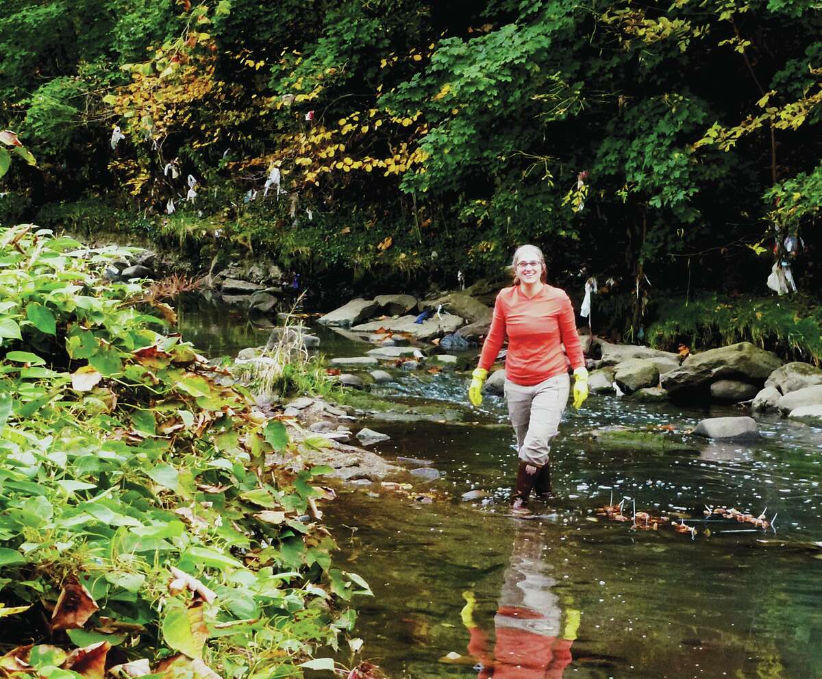 Researcher Emma Rosi, of the Cary Institute of Ecosystem Studies, wades through an Australian stream as part of a new study with Australian and Swedish colleagues on the presence of pharmaceuticals in aquatic life.