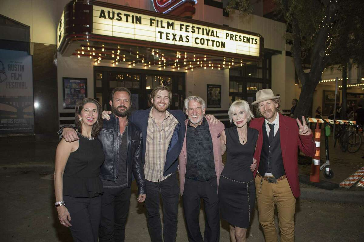 """San Antonio City Clerk Leticia Vacek, far left, is shown with the cast of """"Texas Cotton,"""" a movie about an aging lawman who is convinced a mysterious stranger arrested in his small town is innocent. The movie was filmed, in part, in San Antonio. Vacek plays a city clerk in the movie."""