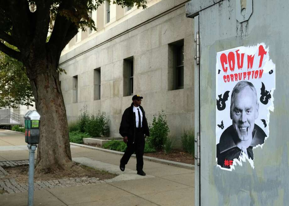 Posters of U.S. Secretary of the Interior Ryan Zinke have been plastered on street corners near the U.S. Department of the Interior offices. Photo: Washington Post Photo By Robert Miller / The Washington Post