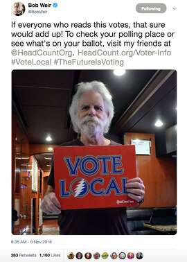 Bay Area celebrities react to voting day on Nov. 6, 2018.
