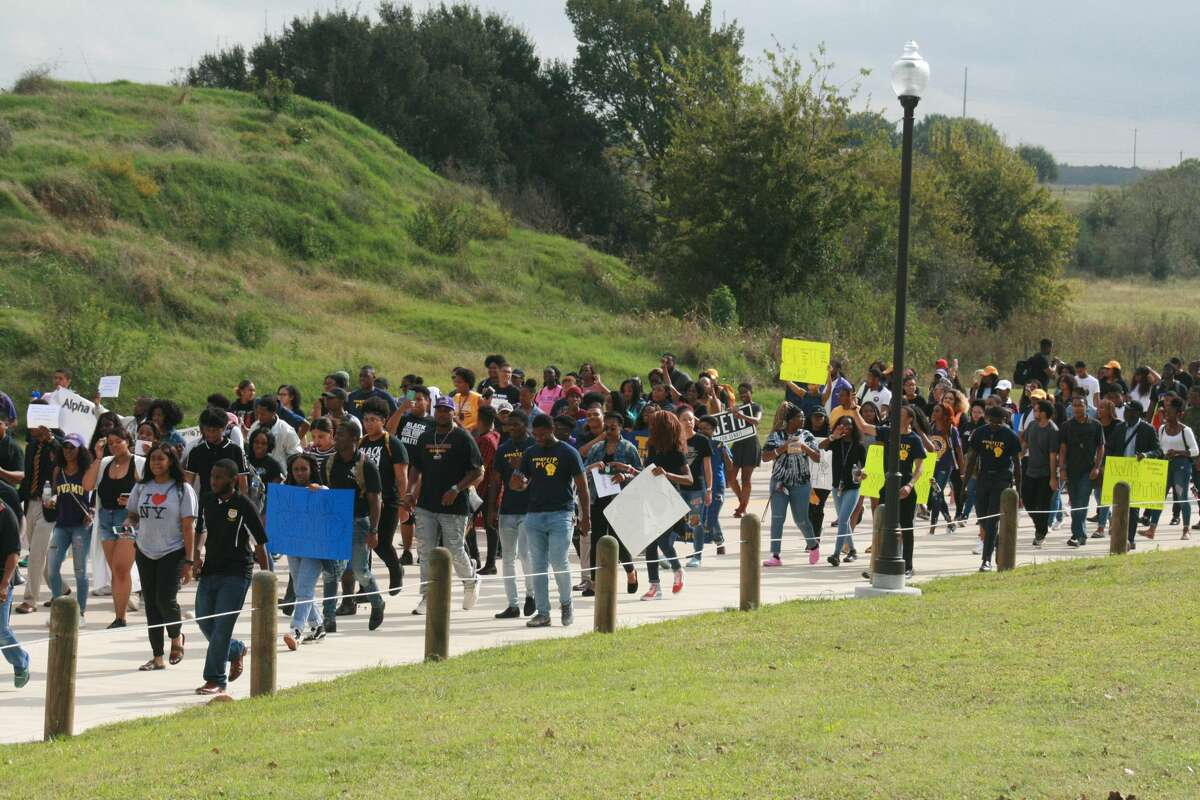 More than 500 Prairie View A&M students organized to protest voter suppression in Waller County while marching to a voting location on campus.