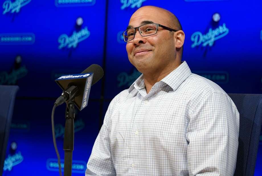 Dodgers General Manager Farhan Zaidi talks in Los Angeles on Nov. 1, 2018.  Photo: Digital First Media/Torrance Daily Breeze Via Getty Images, Digital First Media Via Getty Images
