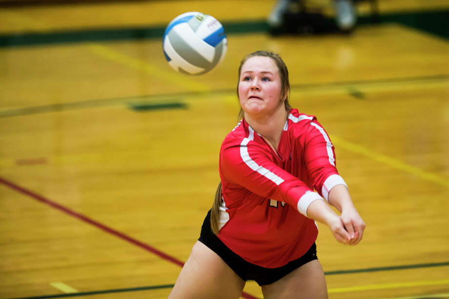 Beaverton senior Hallie Brink bumps the ball during the Beavers' District 3 regional semifinal game against Manton on Tuesday, Nov. 6, 2018 at Houghton Lake High School. (Katy Kildee/kkildee@mdn.net) Photo: (Katy Kildee/kkildee@mdn.net)