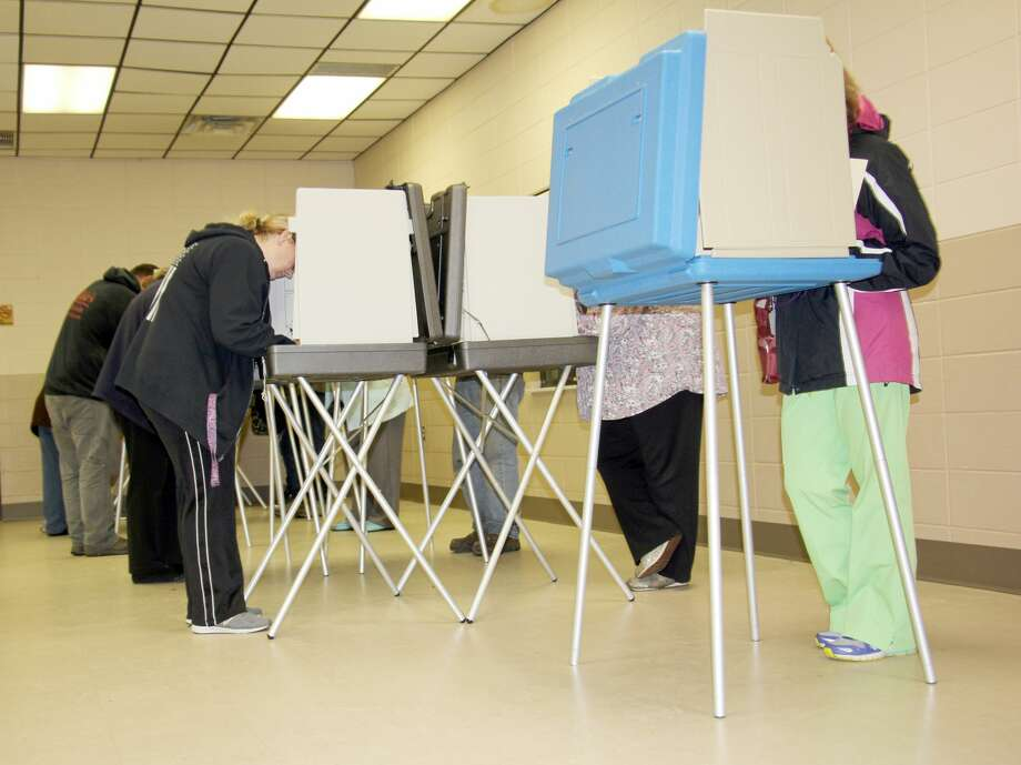 There was a large turnout at Wilcox Community Center during Tuesday's election. Photo: Bradley Massman/Huron Daily Tribune