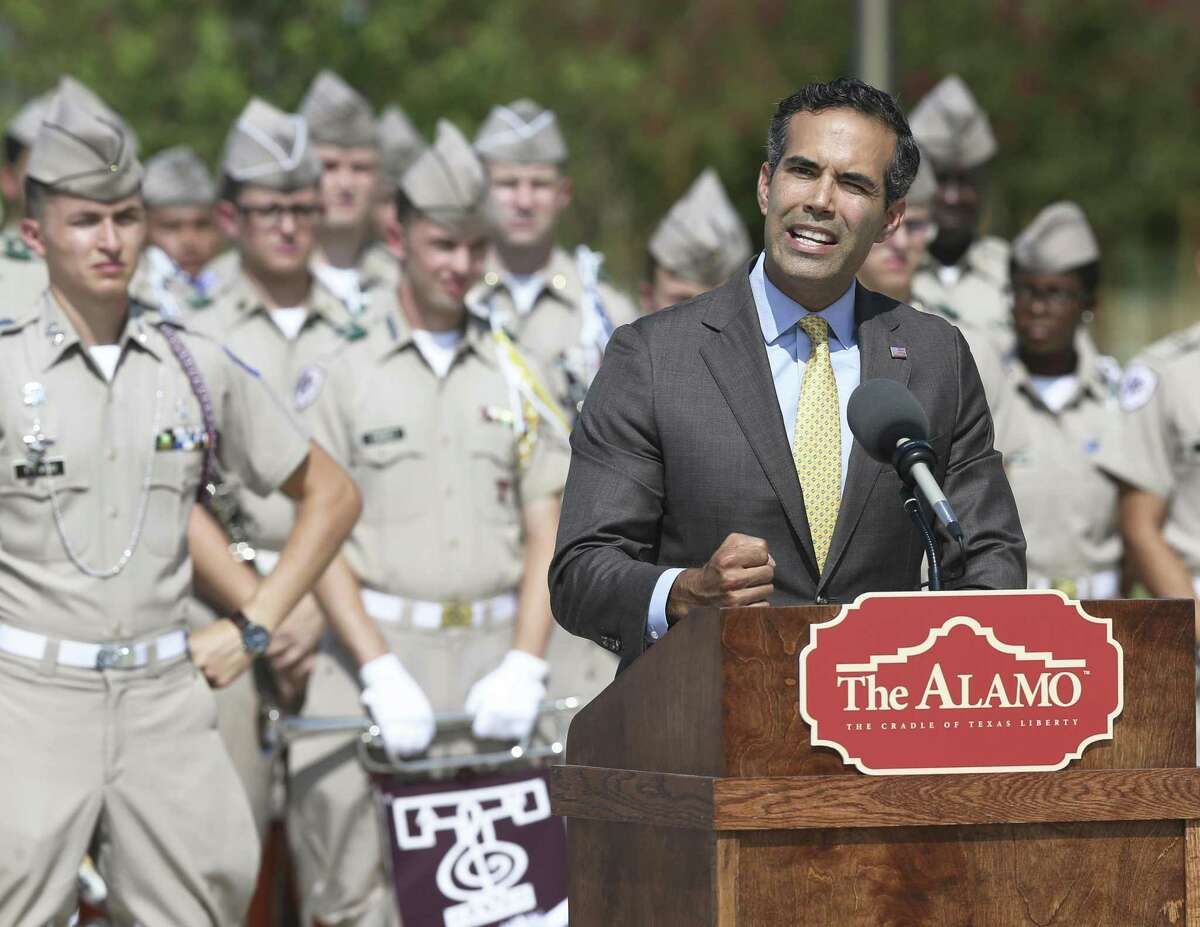 """George P. Bush speaks as Texas A&M and the Alamo present """"A Salute to Alamo Cannon Conservation"""" at the Center for Infrastructure Renewal complex on campus on August 22, 2018."""