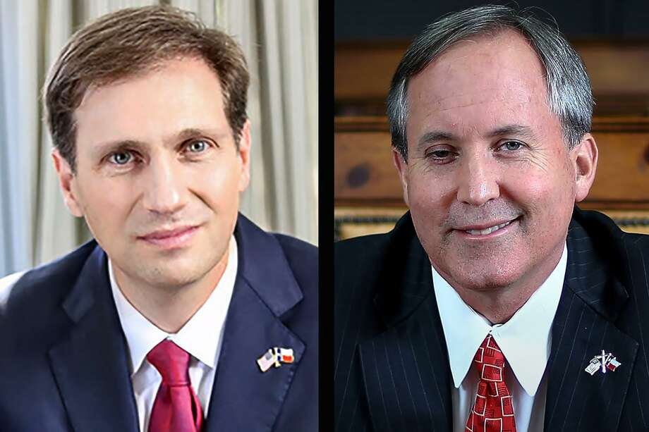 Justin Nelson (D), left, is running for Attorney General against the incumbent, Ken Paxton (R) right. Photo: Houston Chronicle And Handout Photos / Houston Chronicle And Handout Photos / Houston Chronicle and handout photos
