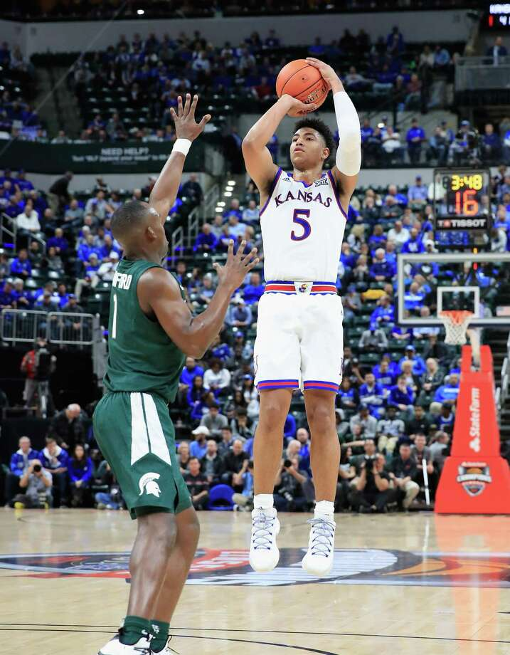 INDIANAPOLIS, IN - NOVEMBER 06: Quentin Grimes #5 of the Kansas Jayhawks shoots the ball against the Michigan State Spartans during the State Farm Champions Classic at Bankers Life Fieldhouse on November 6, 2018 in Indianapolis, Indiana. (Photo by Andy Lyons/Getty Images) Photo: Andy Lyons, Staff / Getty Images / 2018 Getty Images