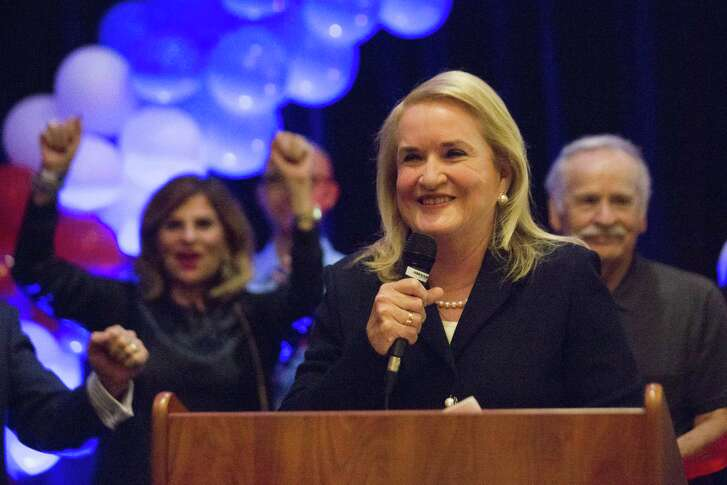Sylvia Garcia accepts her victory in the race for United States Representative Texas 29th District, Tuesday, Nov. 6, 2018, in Houston.