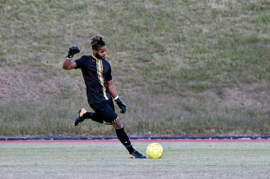 Wayland Baptist University senior goalkeeper Ziggy Camejo kicks the ball back into play during the Sooner Athletic Conference semifinals against Mid-America Christian on Tuesday at Hilliard Field in Plainview. Photo: Claudia Lusk/Wayland Baptist University
