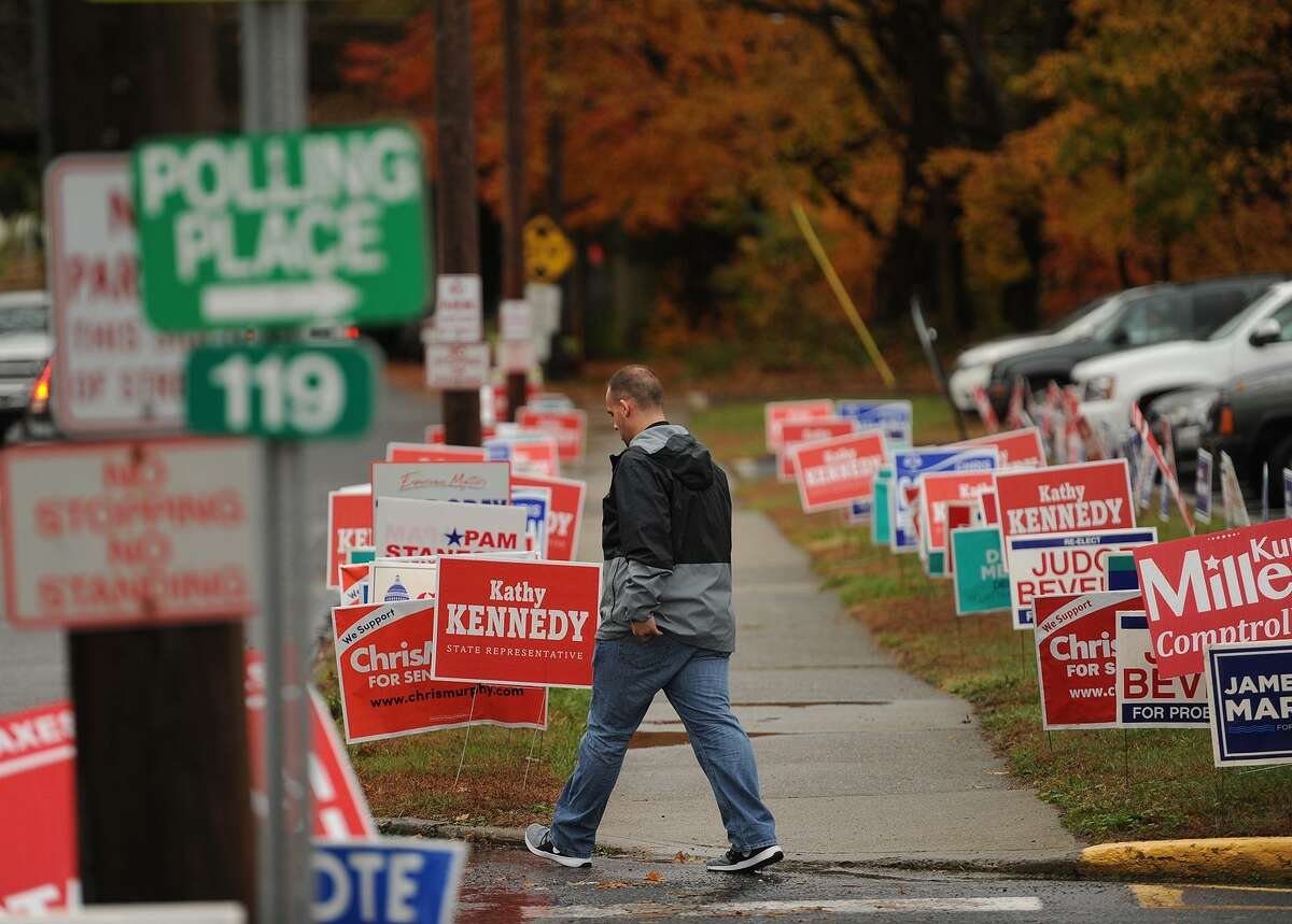 Dozens of campaign signs outside the polls at Orange Avenue School in Milford on Tuesday.