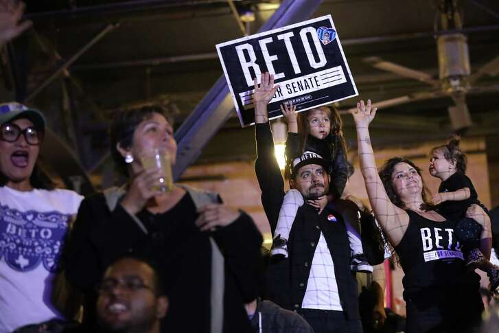 EL PASO, TEXAS - NOVEMBER 06: Michael Diaz de Leon and his daughter Olivia, 5, attend an election night 'thank you' party for U.S. Senate candidate Rep. Beto O'Rourke (D-TX) at Southwest University Park November 06, 2018 in El Paso, Texas. O'Rourke is in a surprisingly tight contest against incumbent Sen. Ted Cruz (R-TX) for one of the state's U.S. Senate seats. (Photo by Chip Somodevilla/Getty Images)