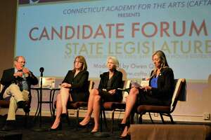 In this file photo, four Democratic candidates attended the CAFTA candidate forum. From left, David Lawson, state Senate District 30 challenger, Melissa Osborne, state Senate District 8 challenger, Maria Horn, state Representative District 64 challenger and incumbent Michelle Cook, D-Torrington.