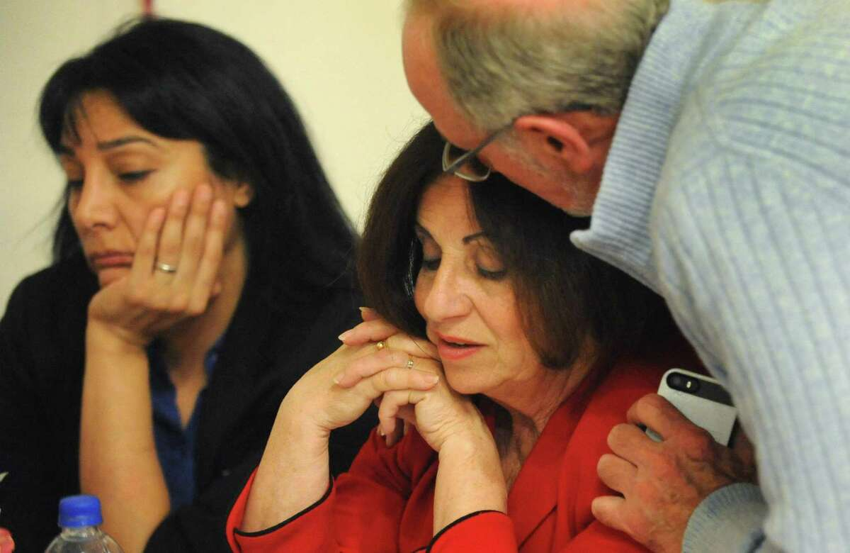 State Sen. Toni Boucher (R-Wilton) reacts to the election results at the Wilton RTC headquarters Tuesday.