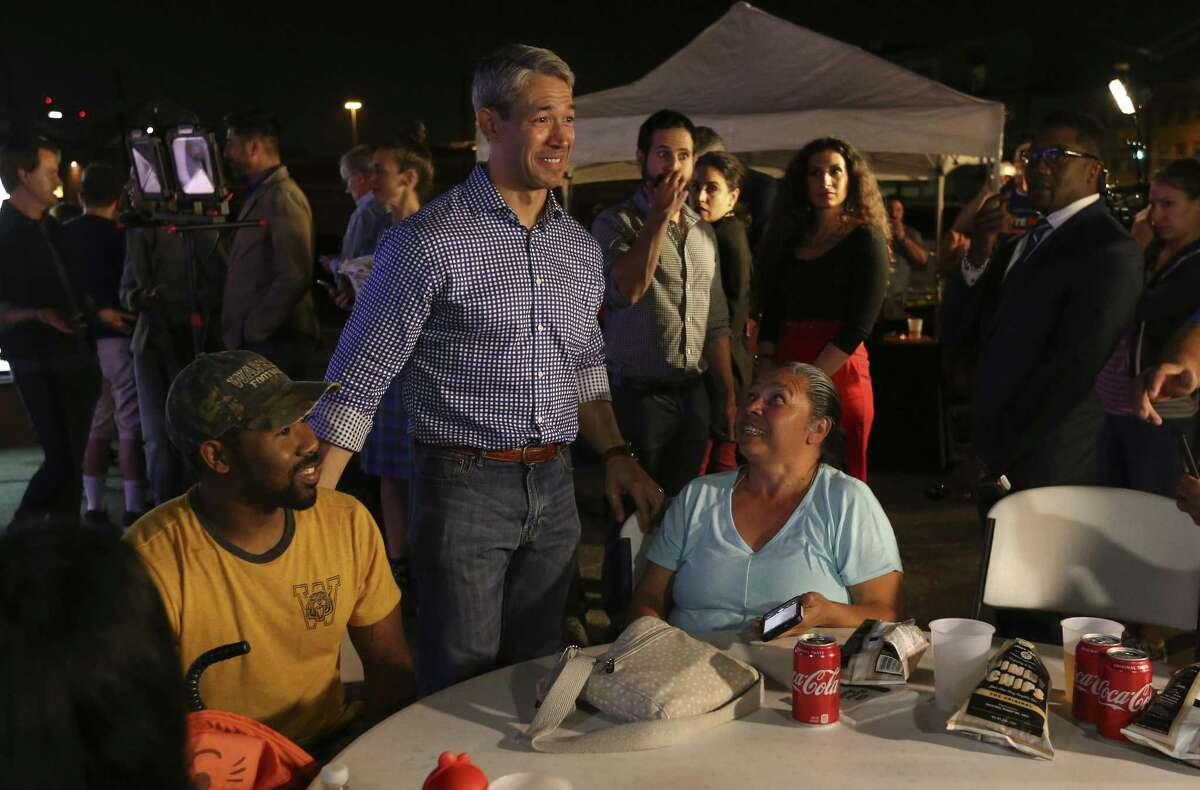 """Mayor Ron Nirenberg meets with supporters of the """"Go Vote No"""" campaign as San Antonio voters decide on three charter amendments supported by the firefighters?' union and blasted by a wide cross-section of community leaders. Supporters in opposition of the three amendments gather on election night to see the results. (Kin Man Hui/San Antonio Express-News)"""
