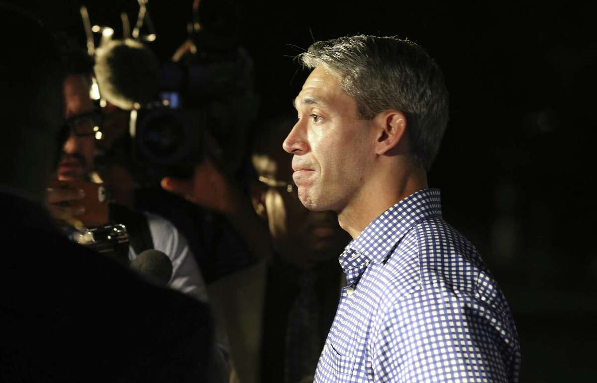 """Mayor Ron Nirenberg takes questions from the media at the """"Go Vote No"""" campaign as San Antonio voters decide on three charter amendments supported by the firefighters?' union and blasted by a wide cross-section of community leaders. Supporters in opposition of the three amendments gather on election night to see the results. (Kin Man Hui/San Antonio Express-News)"""