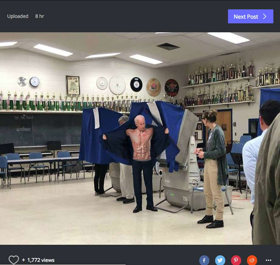 On Tuesday, Former Vice President Biden was caught on camera voting in the midterm elections at a polling place near his home in Willmington, Del. Reddit got ahold of the photos and quickly turned it into an amusing meme. Photo: Imugr /Reddit