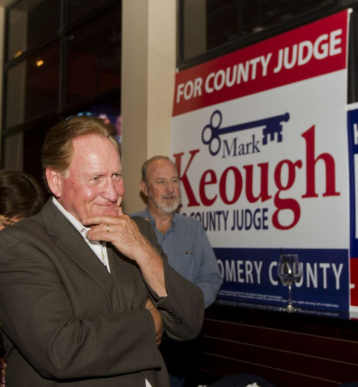 Republican candidate Mark Keough reacts as he is announced as the newly elected Montgomery County Judge at a campaign party at BJ's Restaurant & Brewhouse, Tuesday, Nov. 6, 2018, in Shenandoah.