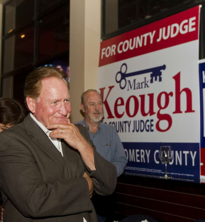 Republican candidate Mark Keough reacts as he is announced as the newly elected Montgomery County Judge at a campaign party at BJ's Restaurant & Brewhouse, Tuesday, Nov. 6, 2018, in Shenandoah. Photo: Jason Fochtman/Staff Photographer