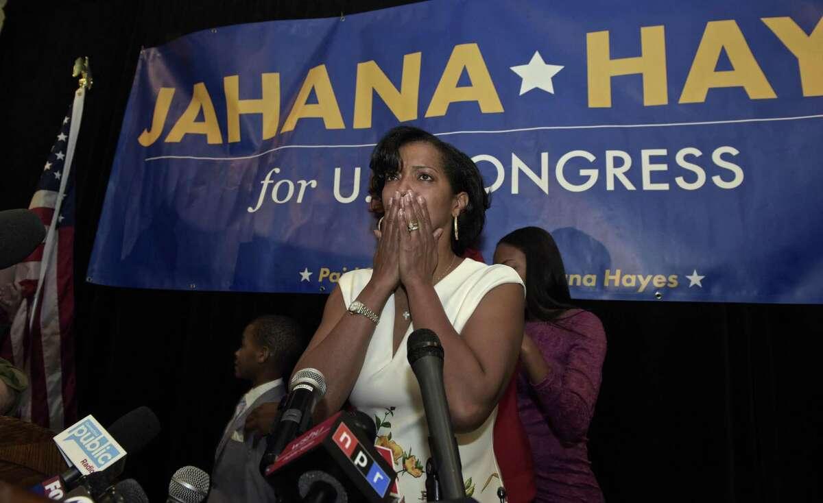 Democrat Jahana Hayes speaks at the Waterbury Marriott on election night, November 6.