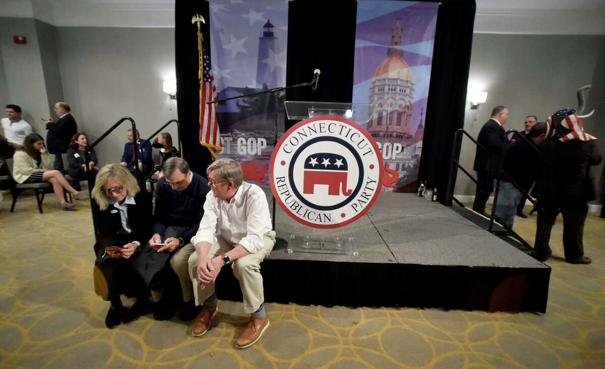 Supporters of Republican gubernatorial candidate Bob Stefanowski wait and watch results at their post-election gathering place in a tight race against Democratic gubernatorial candidate Ned Lamont late Tuesday night at the Sheraton Hartford South Hotel in Rocky Hill