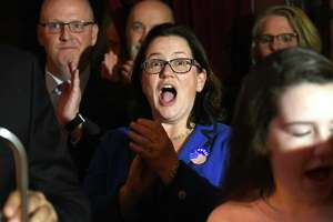 Democrat Mary Pat Donnelly celebrates victory in the Rensselaer County District Attorney. She defeated incumbent Republican Joel Abelove.