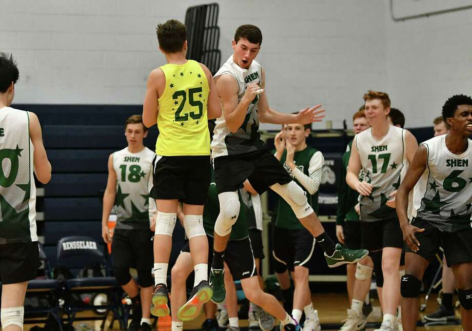 Shenendehowa celebrates during the Section II boys' volleyball final against Bethlehem at Rensselaer High School on Tuesday, Nov. 6, 2018 in Rensselaer, N.Y. (Lori Van Buren/Times Union) Photo: Lori Van Buren / 20045395A