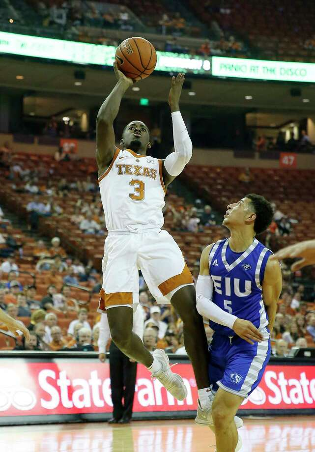 AUSTIN, TX - NOVEMBER 6: Courtney Ramey #3 of the Texas Longhorns shoots over Shareef Smith #5 of the Eastern Illinois Panthers at the Frank Erwin Center on November 6, 2018 in Austin, Texas. Photo: Chris Covatta, Getty Images / 2018 Getty Images