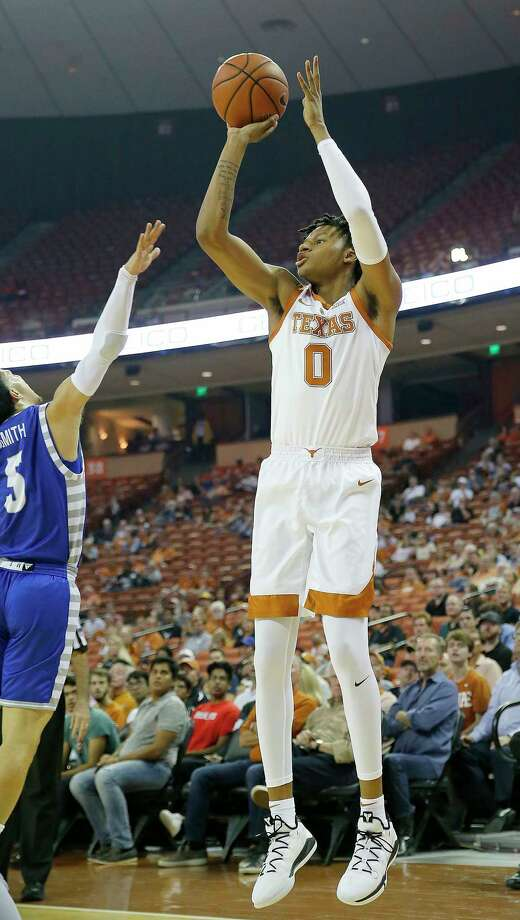 AUSTIN, TX - NOVEMBER 6: Gerald Liddell #0 of the Texas Longhorns shoots over Sharif Smith #5 of the Eastern Illinois Panthers at the Frank Erwin Center on November 6, 2018 in Austin, Texas. Photo: Chris Covatta, Getty Images / 2018 Getty Images