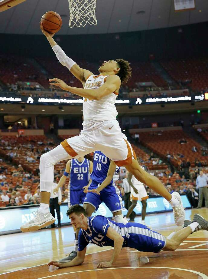 AUSTIN, TX - NOVEMBER 6: Jaxson Hayes #10 of the Texas Longhorns leaps to the basket over Ben Harvey #23 of the Eastern Illinois Panthers at the Frank Erwin Center on November 6, 2018 in Austin, Texas. Photo: Chris Covatta, Getty Images / 2018 Getty Images
