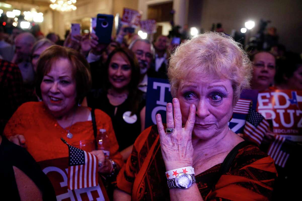 Marie Rice tears up with joy after senator Ted Cruz beat Beto O'Rourke to win re-election at the election night event for the republican senator at the Hilton Post Oak Ballroom Tuesday, Nov. 6, 2018, in Houston.