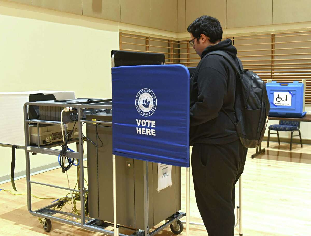 Junior Bryan Torres of the Bronx votes in the multi-purpose room at University at Albany on election night on Tuesday, Nov. 6, 2018 in Albany, N.Y. (Lori Van Buren/Times Union)