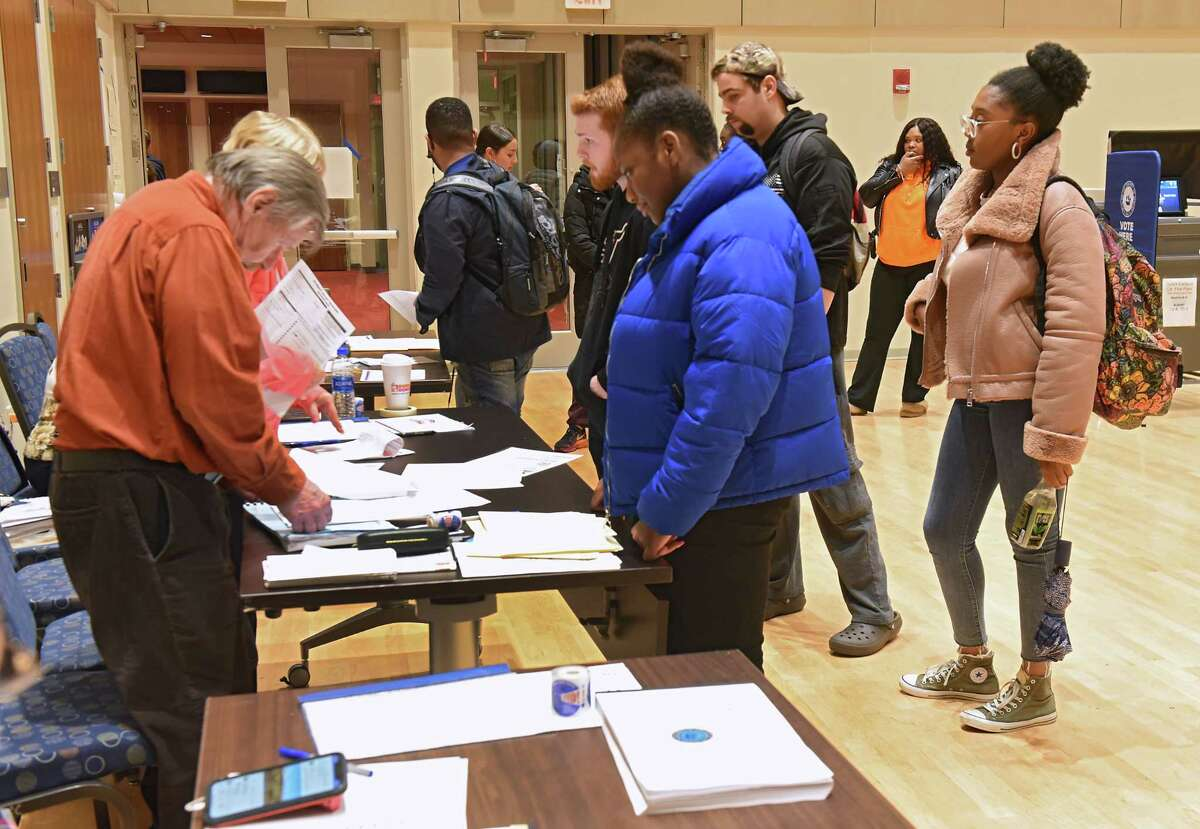 Students show up to vote in the multi-purpose room at University at Albany on election night on Tuesday, Nov. 6, 2018 in Albany, N.Y. (Lori Van Buren/Times Union)