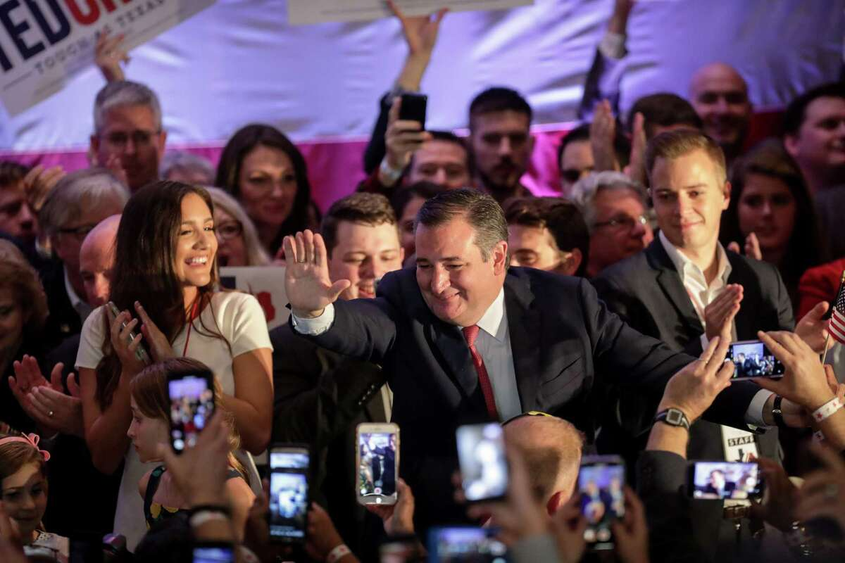 Senator Ted Cruz greets supporters after being called the winner of the Texas Senate race against Rep. Beto O'Rourke, during a campaign watch party Tuesday, Nov. 6, 2018, in Houston.
